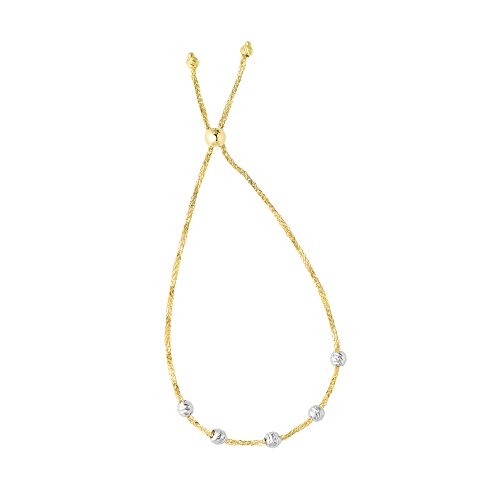 Luxurman Friendship 14K Yellow Gold 1mm Round Wheat Bracelet White Gold Diamond Cut 5-Bead Stations 9.25