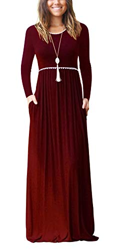 Women's Boutique Long Sleeve Simple Long Dresses with Pockets Loose Plain Maxi Dresses(Wine ()
