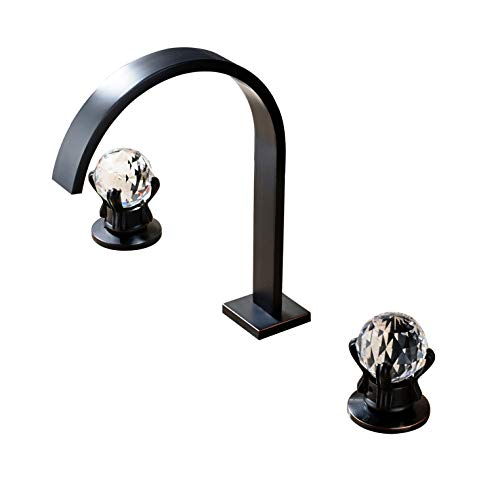 Rozin Bathroom Crystal Knobs Widespread Basin Faucet Deck Mounted 3 Holes Lavatory Sink Mixer Tap ORB Finish