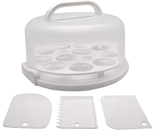 Cynergee Round Portable Cake, Pie, Cupcake, Muffin Carrier with Locking Lid and Collapsible Handles, Includes 3 Piece Cake Scraper and Icing Smoother Set, White