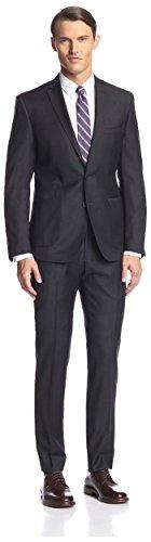Ben Sherman Men's Solid Suit, Charcoal, 44R