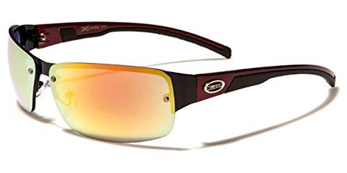 X-Loop Half Frame Rimless Sport Running Driving Sunglasses - Black & Red