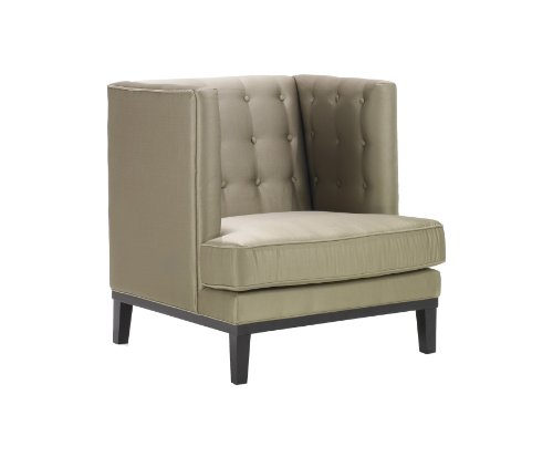 Armen Living LC10061CA Noho Side Chair in Champagne Fabric and Black Wood Finish