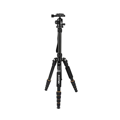 Q666 Camera Tripod Compact Travel Portable Aluminum Alloy Monopod with Ball Head Quick Release Plate Camera Stand
