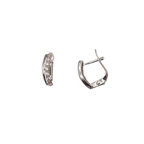 Boucles d'oreilles de comunion en or blanc de Loi avec Zircon.