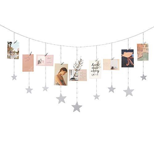 Mkono Hanging Photo Display Wood Stars Garland with