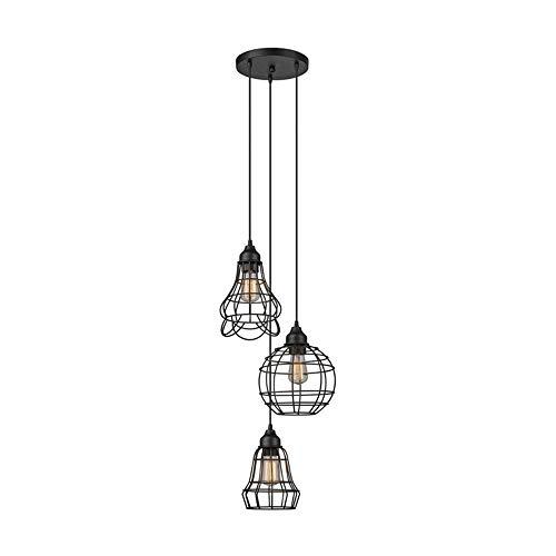 ForeverLighting FL-63488, American Country Style Chandeliers Circular Iron Cage Ceiling Light Flush Mount 3-Light Black Pendant Lighting Fixture for Bar Kit Restaurant Bulb Included