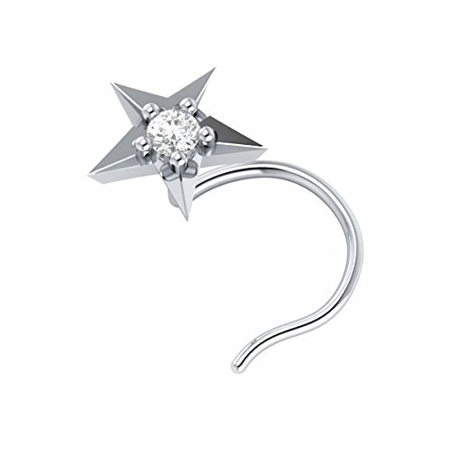 14k White Gold Natural Diamond Star Wedding Nose Body Piercing Ring Stud Pin Certified Jewelry