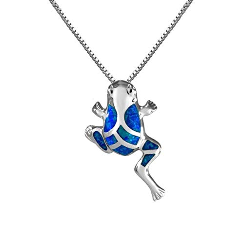 Aloha Jewelry Company Sterling Silver Synthetic Opal Hawaiian Coqui Frog Necklace Pendant with 18