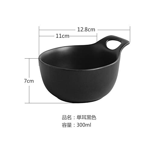 (Ceramic plate Western dish single ear plate pasta Japanese style dish shallow mouth plate salad ins tableware 9 inch black)