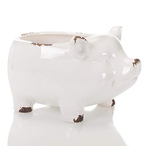 Glossy White Farmyard Animal Porky Pig 8 x 8 Ceramic Serving Bowl