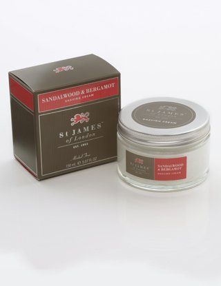 St James of London Sandalwood & Bergamot Shave (Shave Cream Glass Jar)