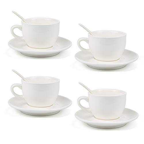 Kingrol 8 Ounce Porcelain Cappuccino Cups with Saucers and Spoons, Set of 4 Espresso Mugs for Latte, Mocha, Cappuccino and Tea Cup & Saucer Spoon