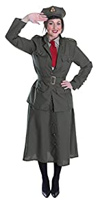 1940s Tea Dresses, Mature, Mrs. Long Sleeve Dresses Ladies WW2 Army Officer Costume $34.94 AT vintagedancer.com