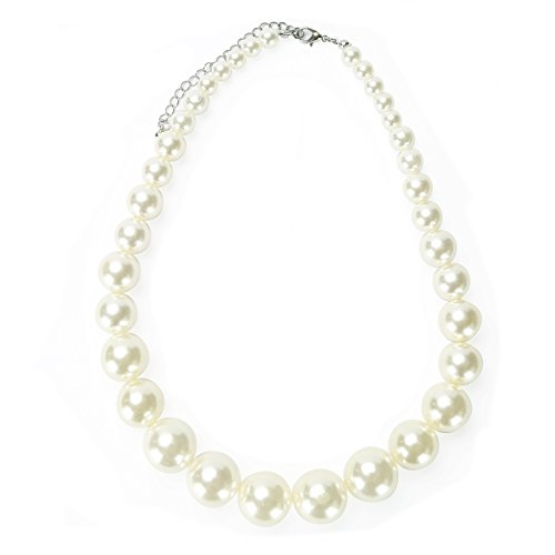 MeliMe Faux Big White Pearl Choker Necklaces Flapper Beads Wedding Jewelry for Women Mother