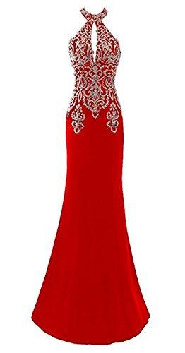 Licheng Dentelle Robe De Soirée Sirène Perles Longue Des Femmes De Mariée De Bal Licol Appliques Formelle Robe Rouge Sans Manches