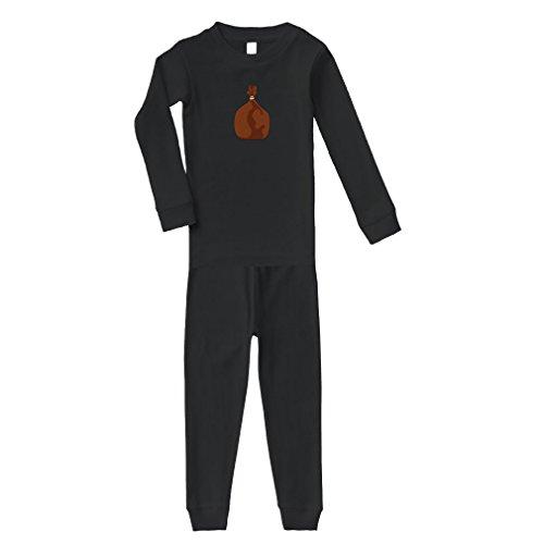 Gift Bag Cotton Long Sleeve Crewneck Unisex Infant Sleepwear Pajama 2 Pcs Set Top and Pant - Black, 6 Months by Cute Rascals