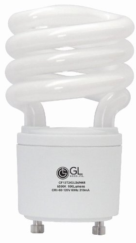 Goodlite G-10862 30 13-watt Replacement Mini Compact Fluorescent 900-Lumen 6500K T2 Spiral Light Bulb with GU24 Base Twist and Lock, Daylight, 50-Pack by Goodlite
