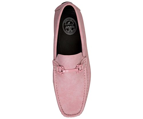 Amali Chaussures De Pilote En Faux Cuir Lisse Occasionnels Avec Des Styles De Boucle Dysion, Rose De Sq-roland