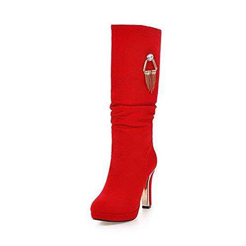 AllhqFashion Damen Mattglasbirne Ziehen auf Hoher Absatz Hoch-Spitze Stiefel, Rot, 37