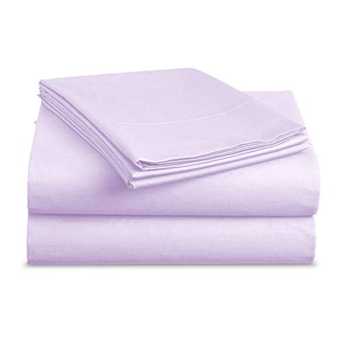 Luxe Bedding Sets – Microfiber Sheet Set 3 Piece Bed Sheets, Deep Pocket Fitted Sheet, Flat Sheet, Pillow Case, Lavender, Twin
