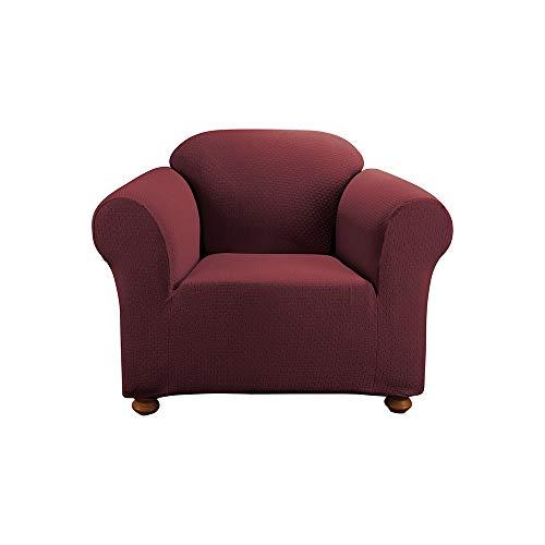 SureFit Simple Stretch Subway 1-Piece - Chair Slipcover - Burgundy