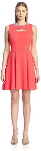Sandra Darren Women's Fit and Flare Dress, Hot Coral, 8 US