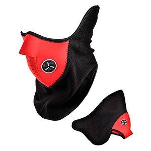 Máscara Cara Media Neopreno Polar Rojo Negro Para Moto/Motocicleta/Bici/Esquí