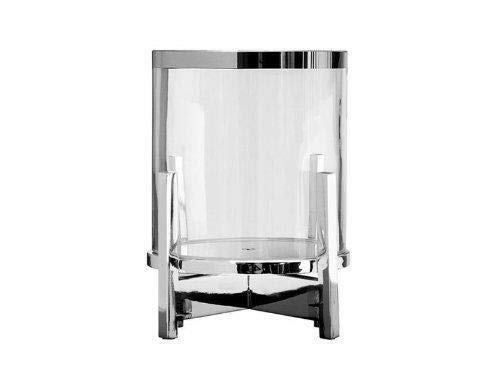 Fink Charles Windlicht mit Glas Eisen vernickelt Glas silberfarben klar H/öhe 22 cm Durchmesser 14 5 cm 159598