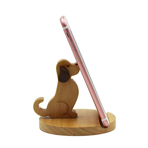 Amamcy Cute Dog Cell Phone Holder Stand, Wooden Smartphone Desk Holder for iPhone Xs/Max/XR/X/8/7 Plus/Google Pixel/Samsung Galaxy Note Dog Cell Phone Holder