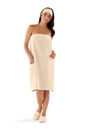 (Boca Terry Womens Spa Wrap - 100% Cotton Bath, Gym Towel - XXXXL (4XL) - Ecru)