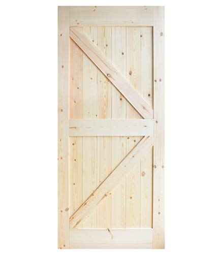 - DIYHD 36inX84in Pine Knotty Sliding Barn Wood Door Slab Two-Side Arrow Shape Barn Door Slab (Disassembled Unfinished)