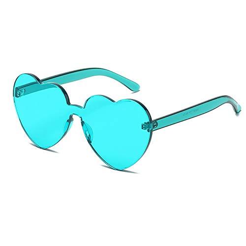 Heart Shaped Rimless Sunglasses Candy Steampunk Lens for women girl (lightblue, 63)