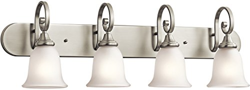 Kichler 45056NI Monroe Bath 4-Light, Brushed Nickel (Brushed Sterling Vanity Nickel)