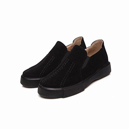 Carolbar Women's Western Concise Platform Flat Elastic Loafer Shoes Black hoZ2ivpC