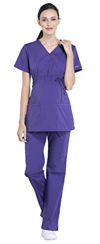 Cherokee Workwear Professionals Maternity Mock Wrap Top WW685 & Maternity Straight Leg Pant WW220 Scrub Set (Grape - Medium)