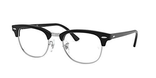 Ray-Ban Unisex RX5154 Clubmaster Eyeglasses Shiny Black 49mm (Ray Ban Clear Glasses)