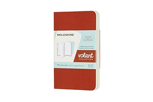 Moleskine Volant Soft Cover Journal, Set of 2, Plain / Blank, XS (2.5 x 4) Coral Orange / Aquamarine Blue - for Use as Journal, Sketchbook, Composition Notebook