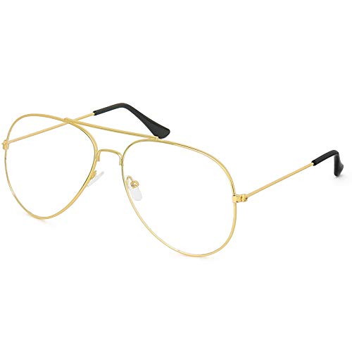 Skeleteen Clear Lens Costume Glasses - 70's Style Aviator Gold Wire Rimmed Clear Sunglasses for Adults and Kids