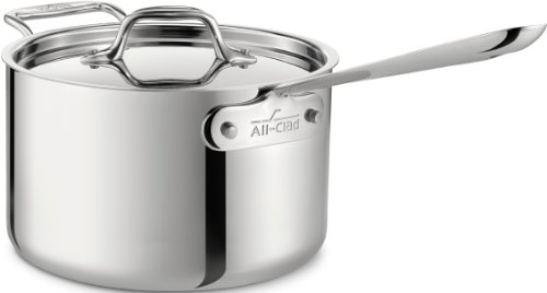 All-Clad 4204 with loop Stainless Steel Tri-Ply Bonded Dishwasher Safe Sauce Pan with Loop Helper Handle and Lid Cookware, 4-Quart, Silver by All-Clad