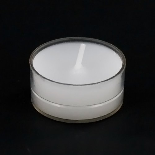 Plastic Candle Cups - White Tea Light Unscented Candles Burn 4.5 Hour Set of 50 in Clear Cups