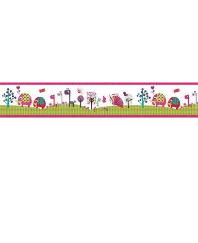 (FunDeco Lemon Ribbon - Animal Sanctuary - Hot Pink - 70-016 - Self Adhesive Wallpaper BORDER)