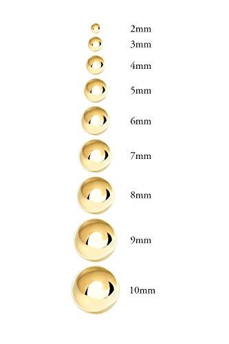 Premium 14K Yellow Gold Ball Stud Earrings (9mm - Yellow Gold) by Honolulu Jewelry Company (Image #3)