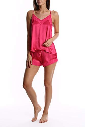 Blis Women's Satin Cami & Boxer Short Pajama Set - Ladies Sleep & Loungewear PJs - Hot Pink Cami Set, X-Large ()