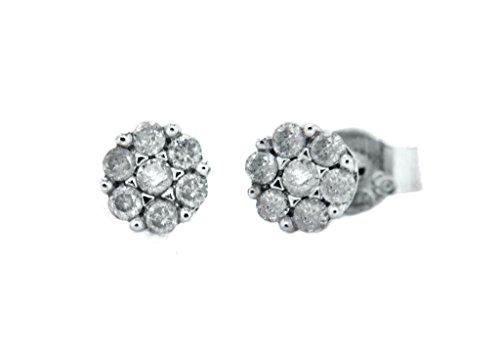 Or blanc 9carats Diamant 0,15ct Boucles d'oreilles en grappe