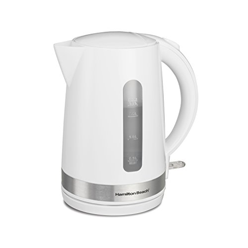 Hamilton Beach 41009 Electric Tea Kettle with Water Window & Boil Dry Auto Shutoff, 1.7 Liter, White