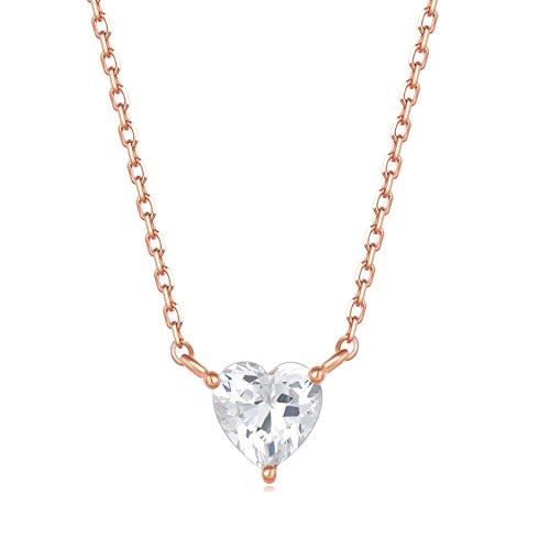 (Carleen 18K Rose Gold Plated 925 Sterling Silver Heart Solitaire CZ Cubic Zirconia Dainty Pendant Necklace for Women Girls with 15.75