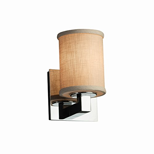 Justice Design Group Lighting FAB-8921-10-CREM-CROM-LED1-700 Textile - Modular 1-Light Wall Sconce - Cylinder with Flat Rim Shade - Cream - LED Polished Chrome