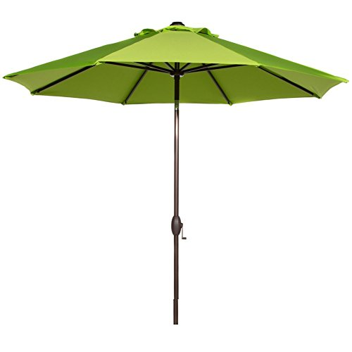 9' Outdoor Market Umbrella - Abba Patio 9 Feet Patio Umbrella Market Outdoor Table Umbrella with Auto Tilt and Crank, Lime Green