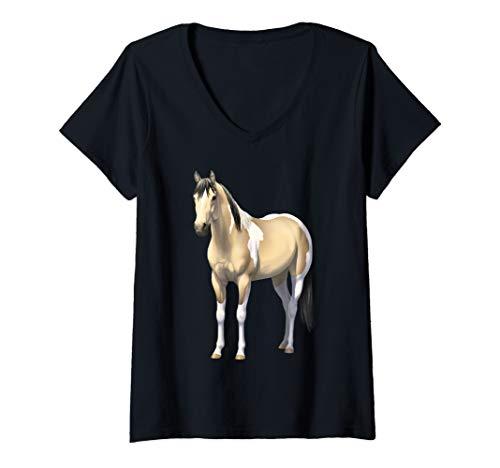 Womens Buttermilk Buckskin Pinto Quarter Horse Paint Horse V-Neck T-Shirt ()